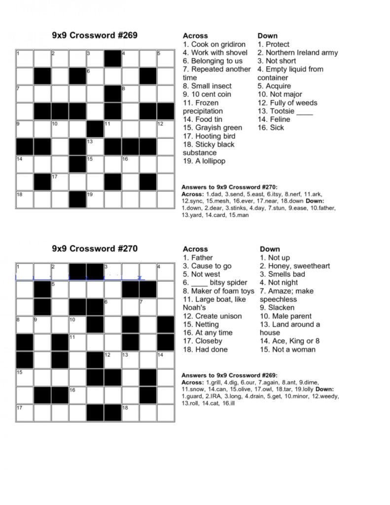 Make Your Own Crossword Puzzle Free Printable With Answer