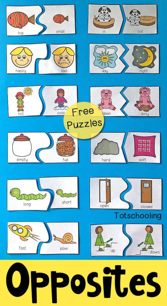 Opposites Puzzles For Preschool Free Printable Puzzles