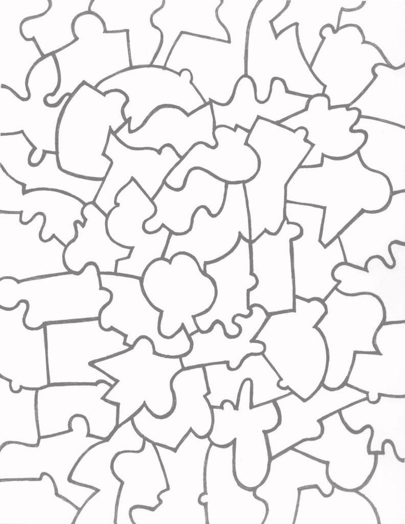 Paper Jigsaw Puzzle Templates Team Colors
