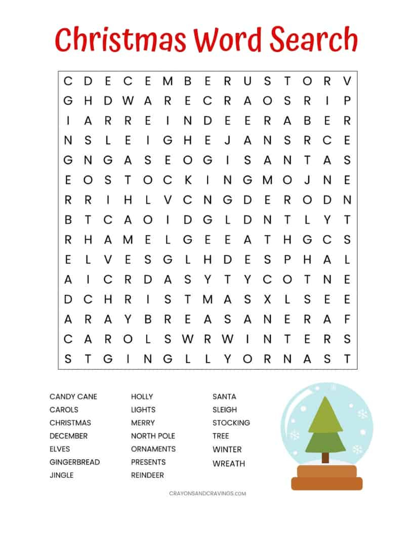 Free Printable Christmas Word Search Puzzles Adults