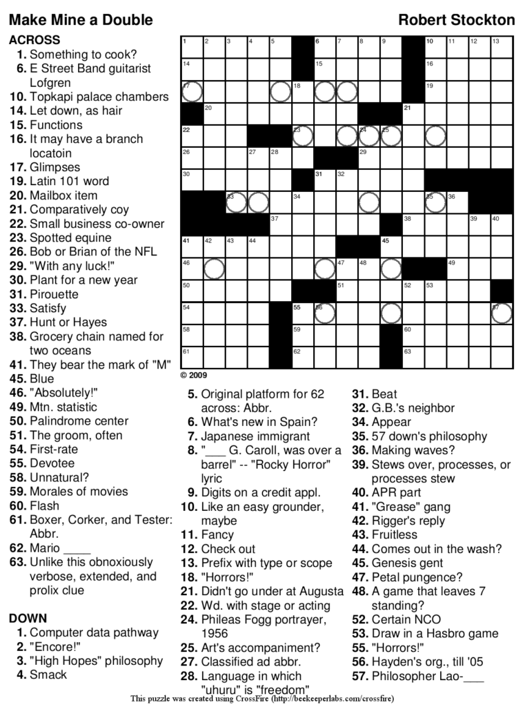 Printable Crossword Difficult Printable Crossword Puzzles