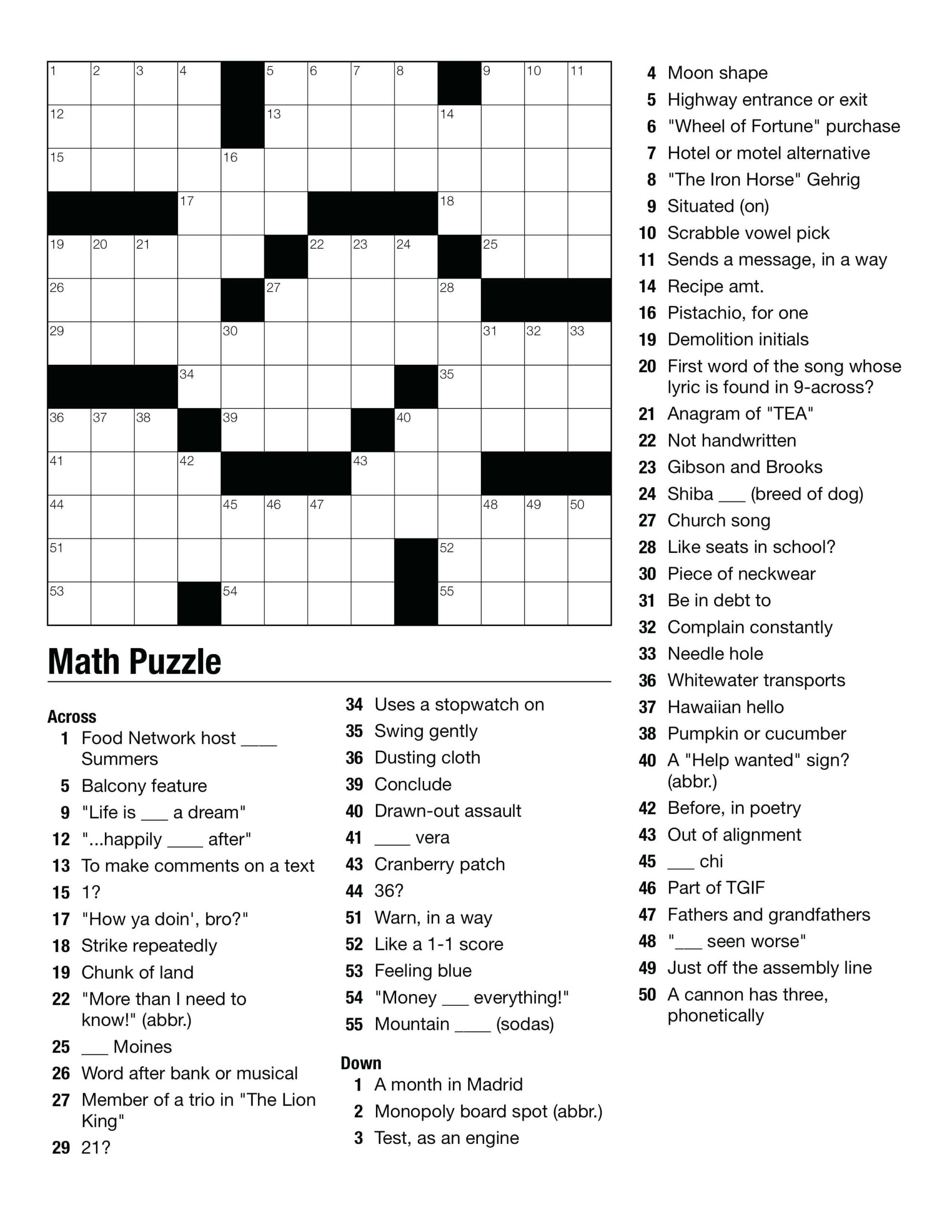 Crossword Puzzles For Middle School Students Free Printable