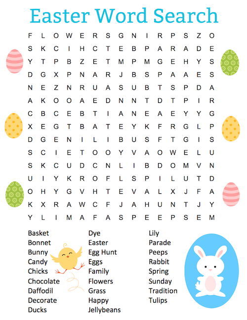 Free Easter Word Search Puzzles Printable