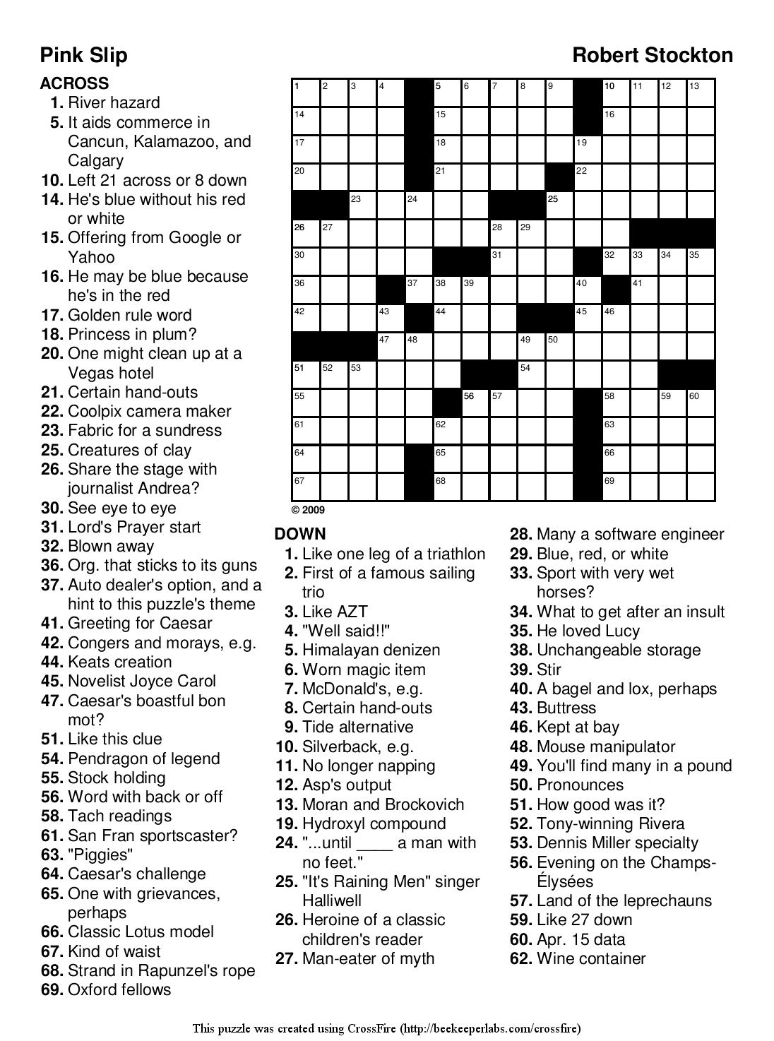 Printable Hard Crossword Puzzles Pdf