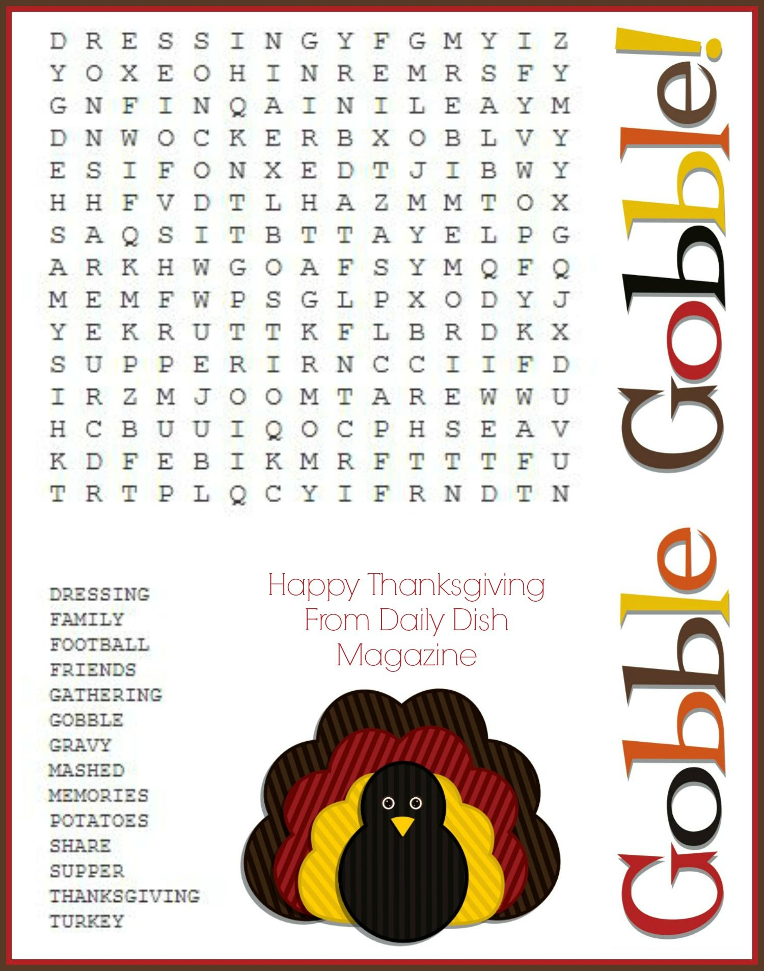 Free Printable Thanksgiving Puzzles For Adults