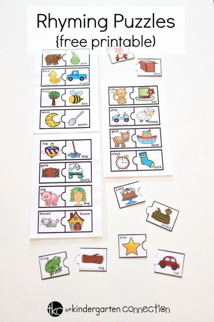 Rhyming Puzzles The Kindergarten Connection Literacy