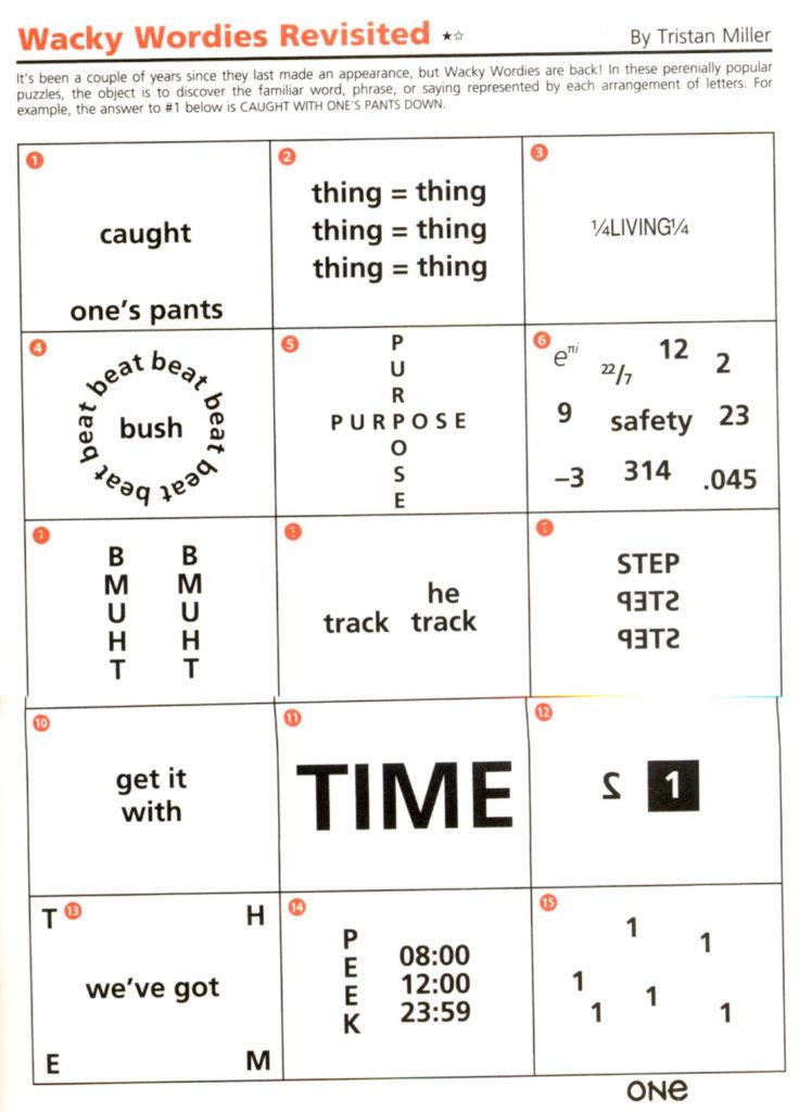 Wackie Wordies 92 Word Puzzles Brain Teasers Brain