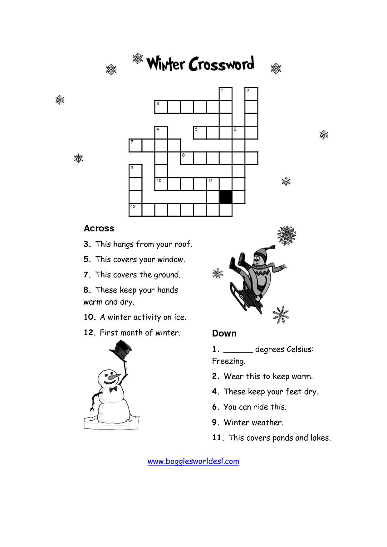 Printable Winter Crossword Puzzles