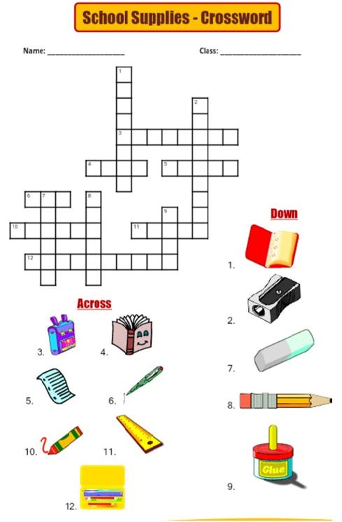 Crossword Puzzle For Primary School