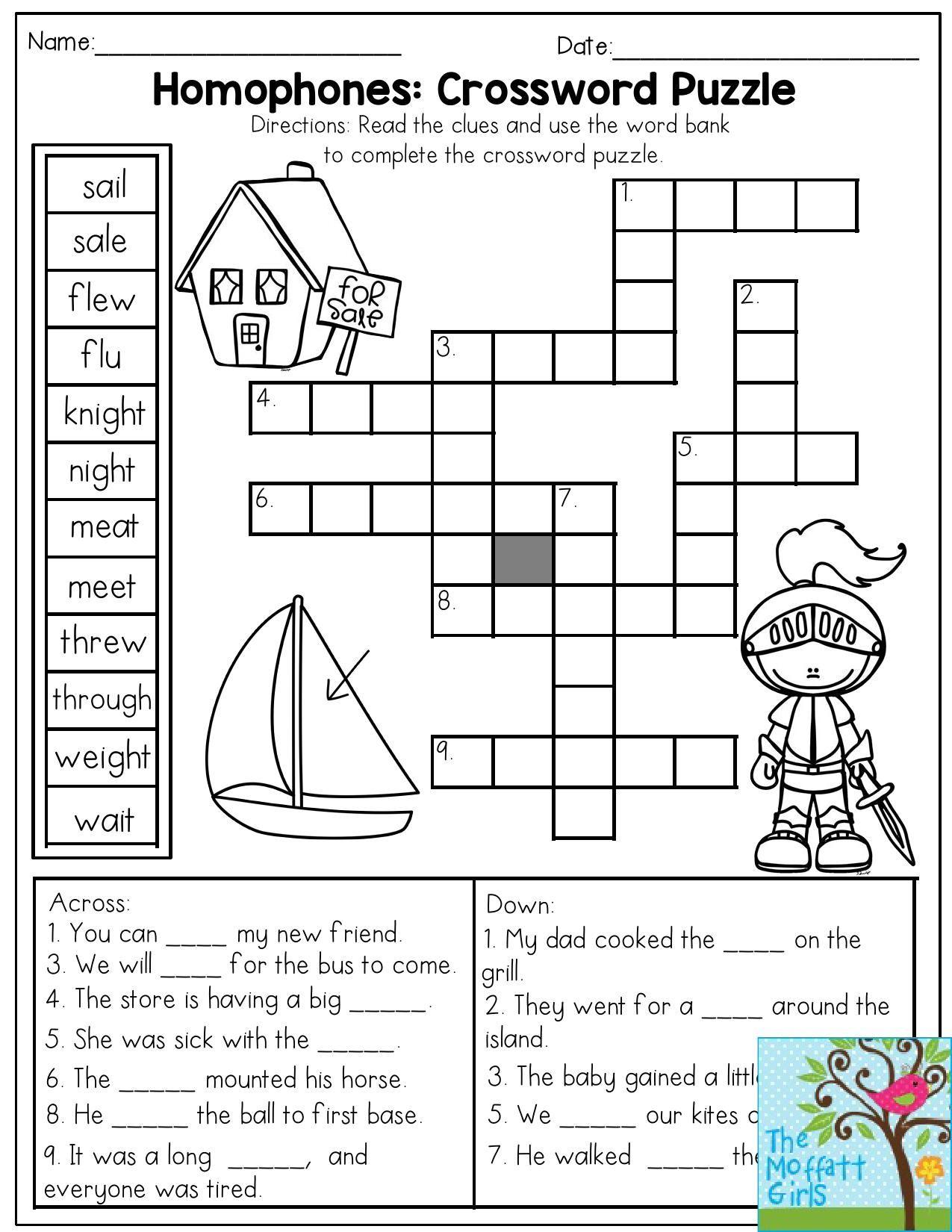 4th Grade Crossword Puzzles Printable