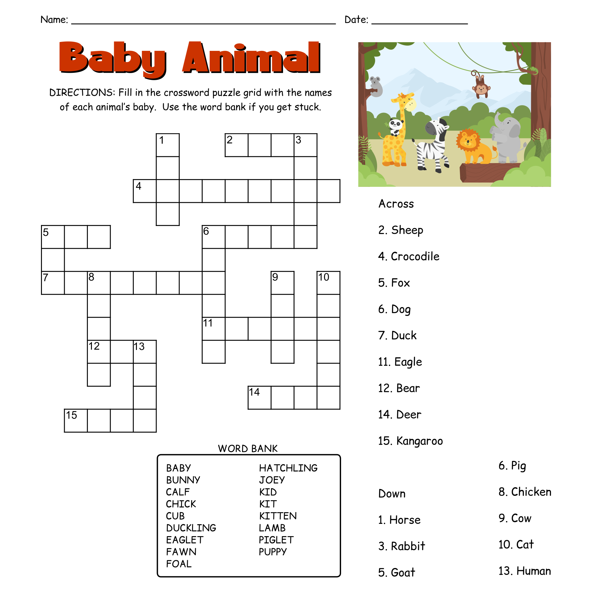 Crosswords Easy Printable