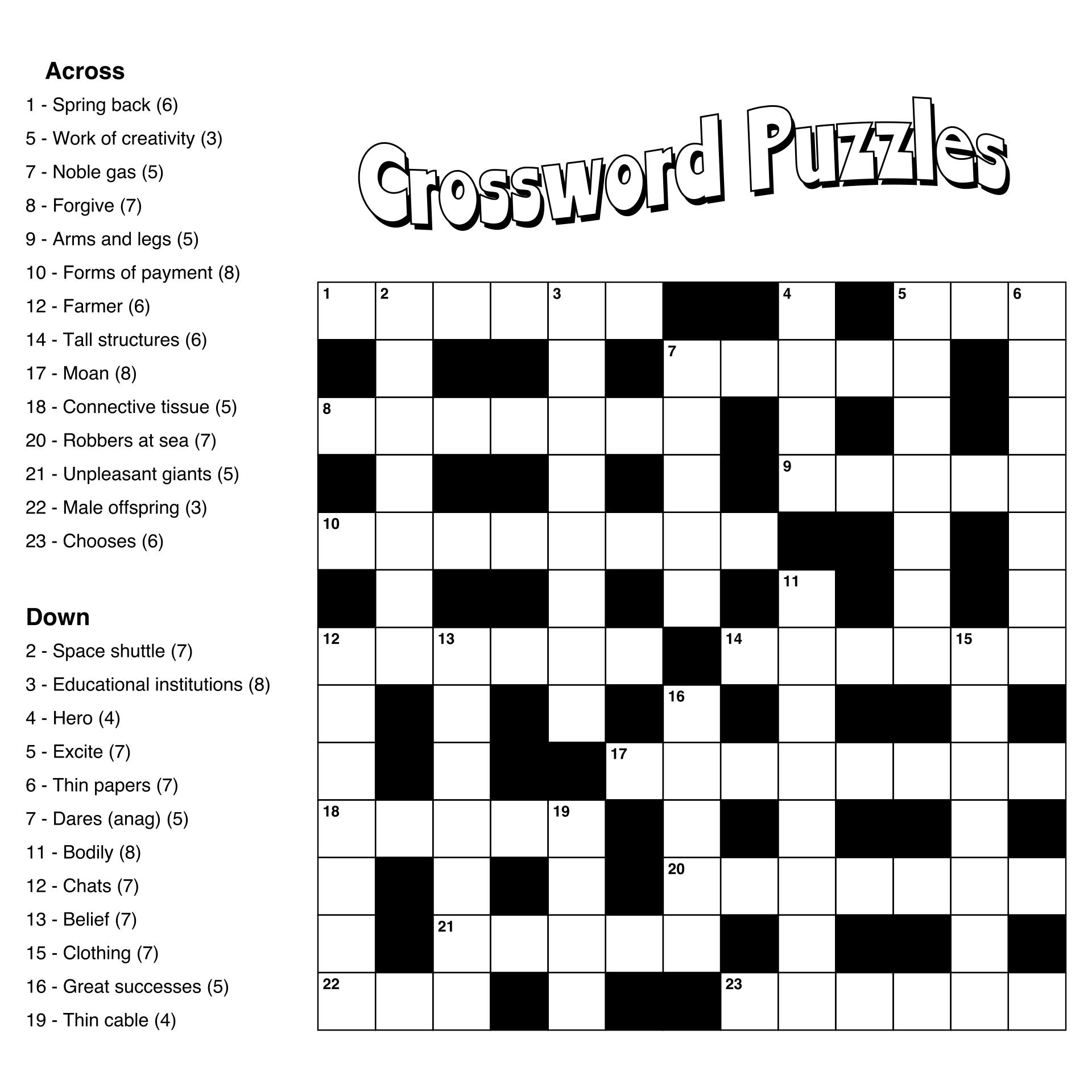 Printable Crossword Puzzles Large Print