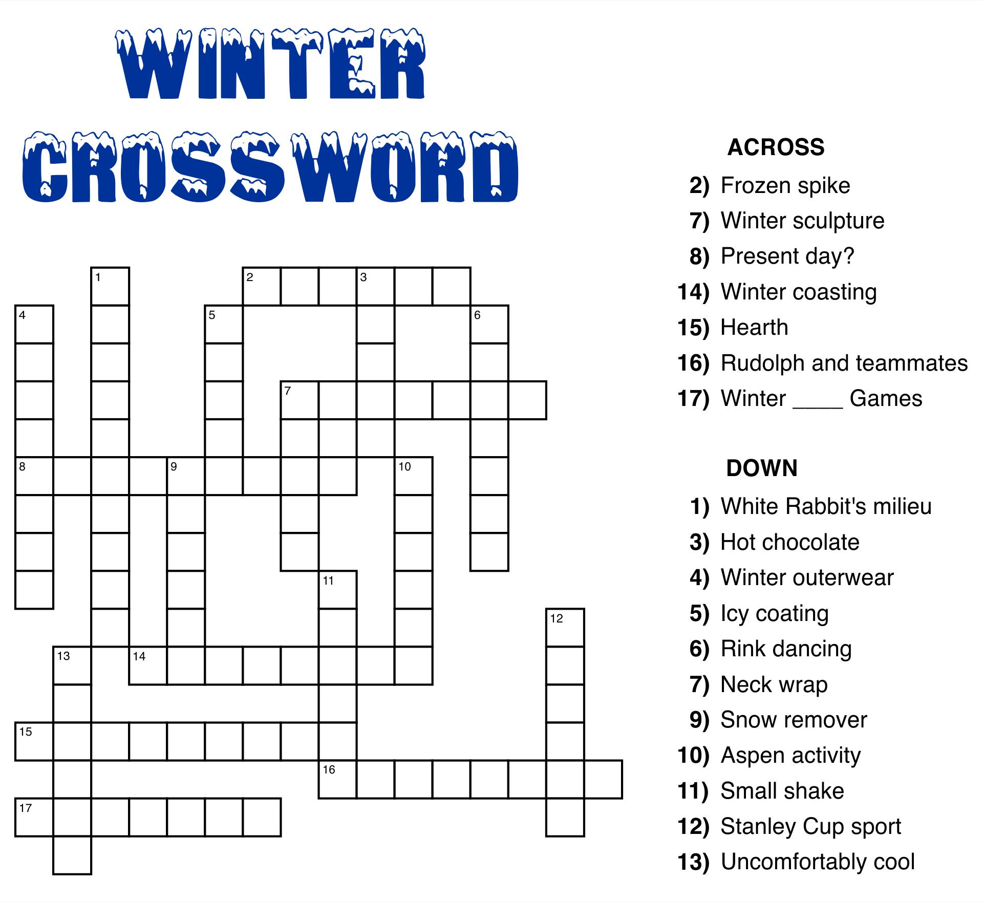 Printable Crossword Puzzle