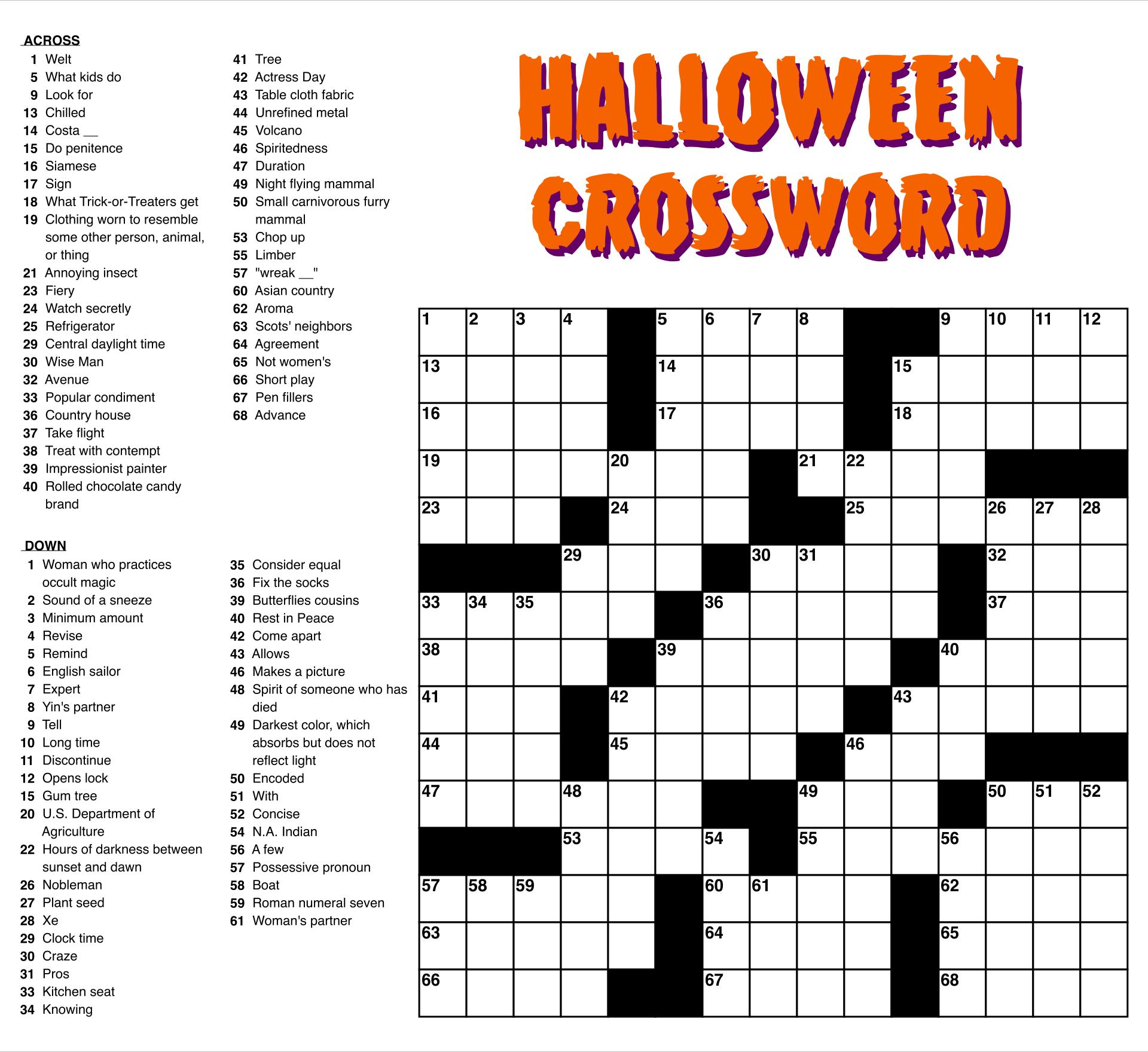 Free Crossword Puzzles Printable Easy