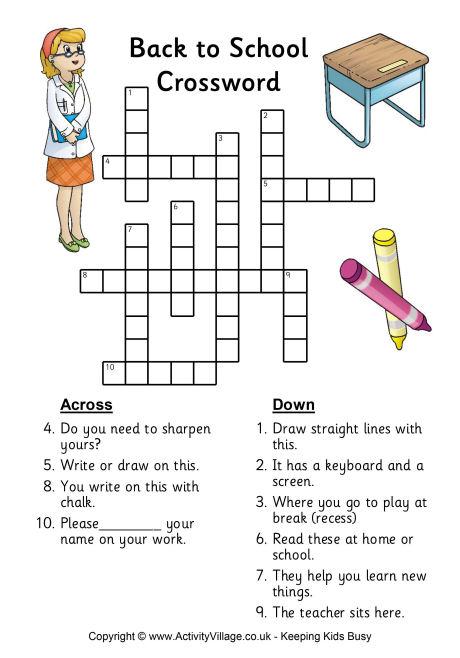 Crossword Puzzle For Primary School Pdf