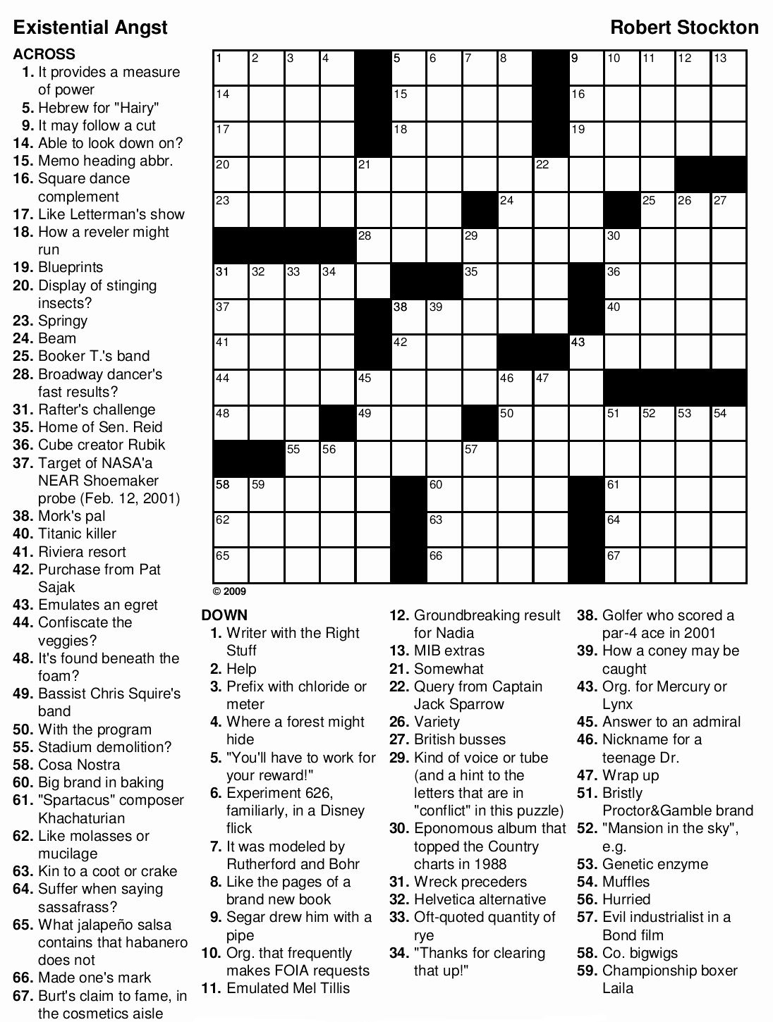Free Printable Difficult Crossword Puzzles
