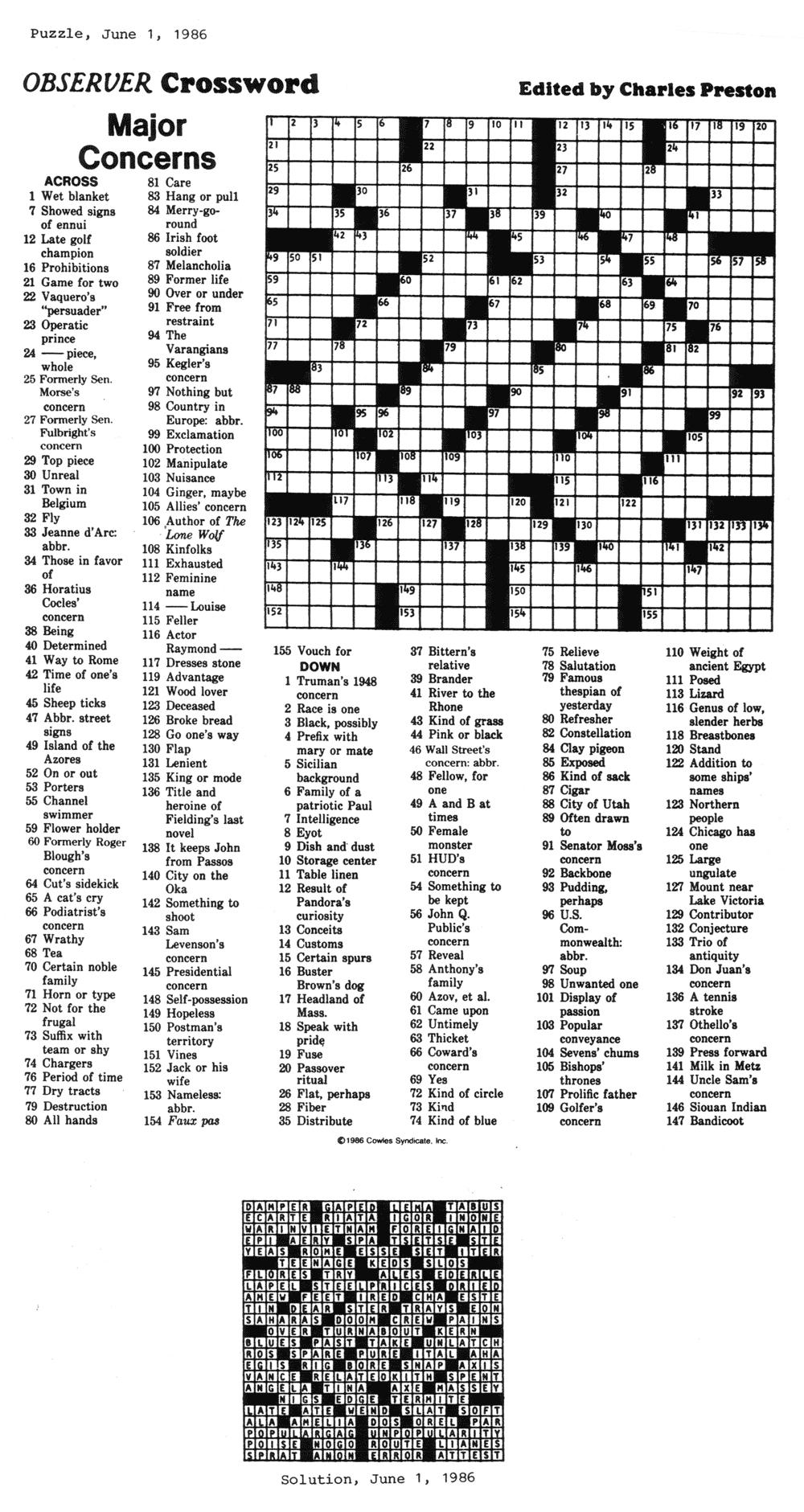Eugene Sheffer Daily Crossword Printable