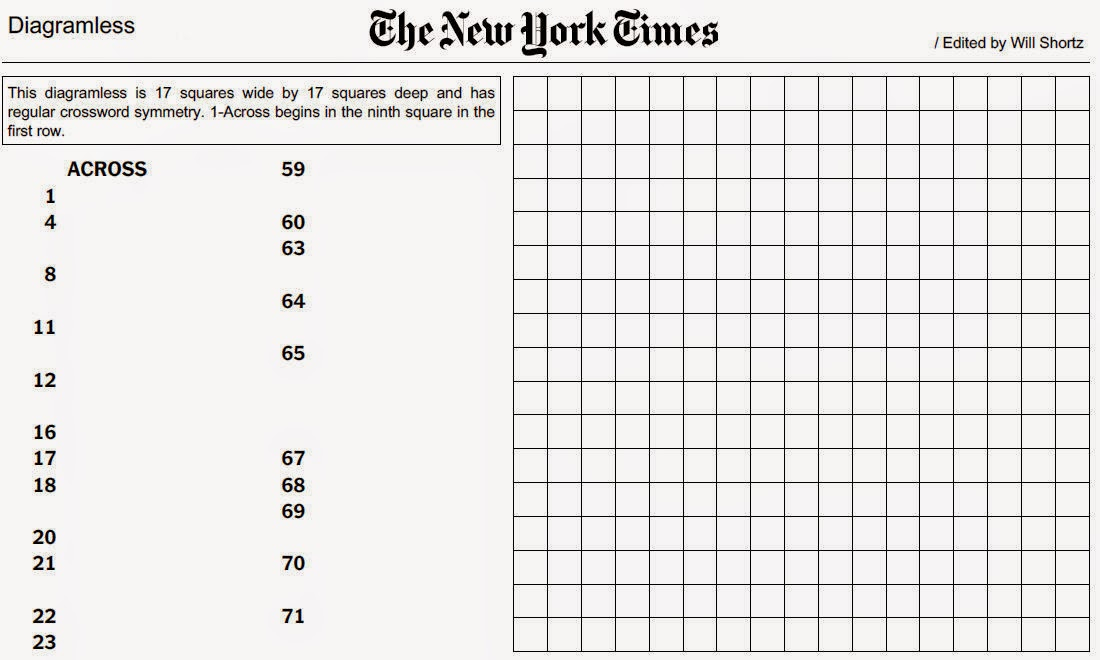 Diagramless Crossword Printable
