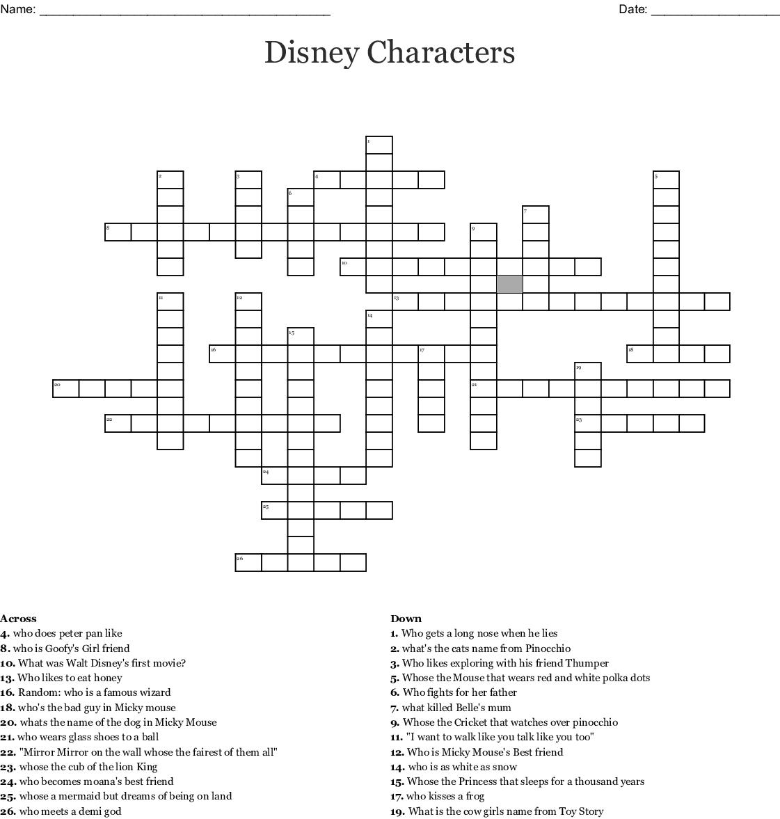 Disney Crossword Printable