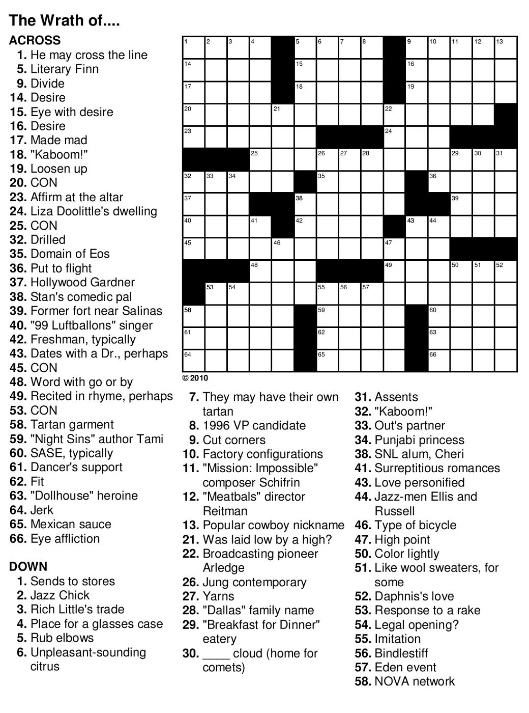 Crossword Puzzles For Seniors Printable