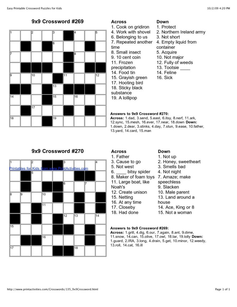 Easy Crossword Puzzles Printable With Answers Printable