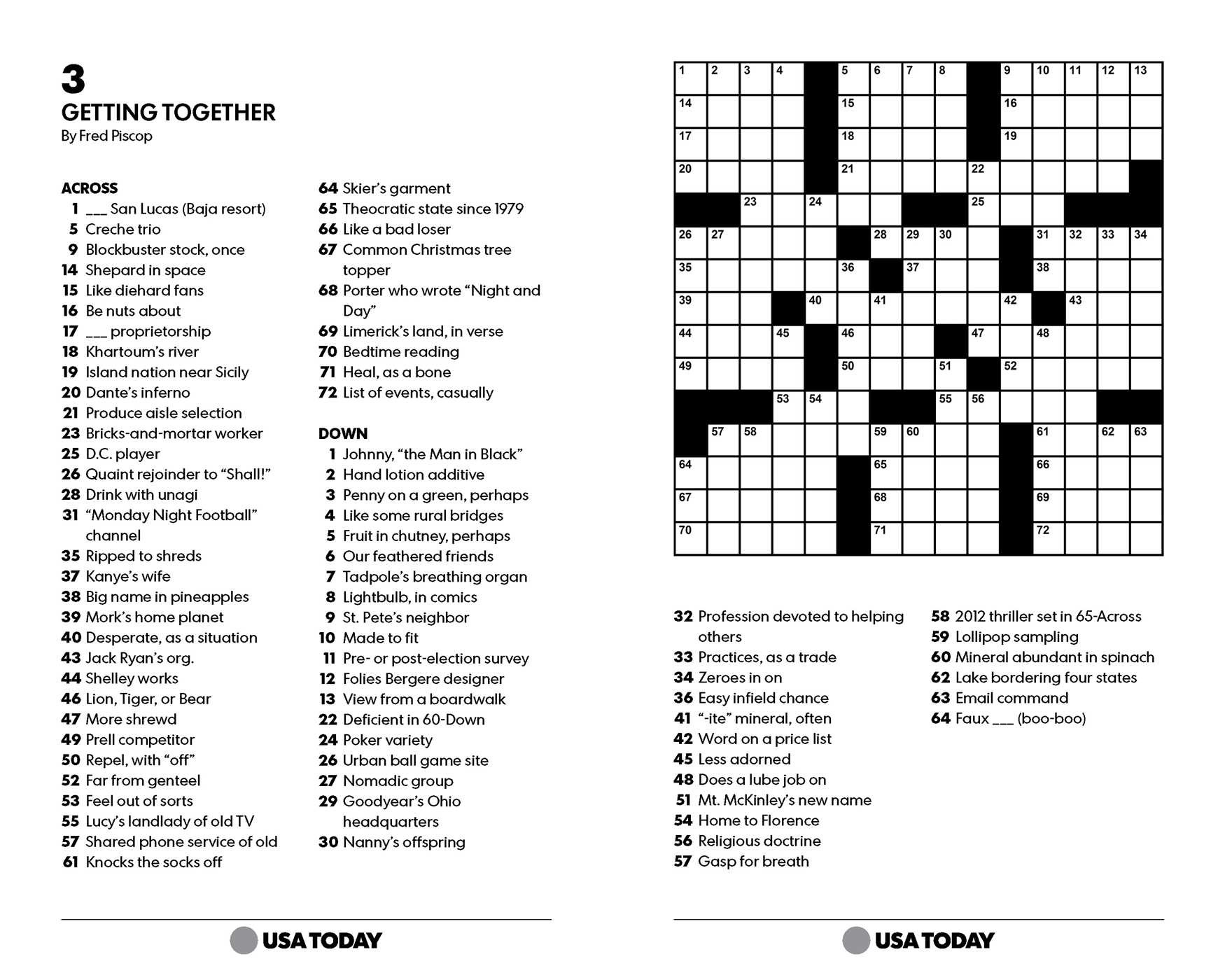 Eugene Sheffer Printable Crossword Puzzle For Today