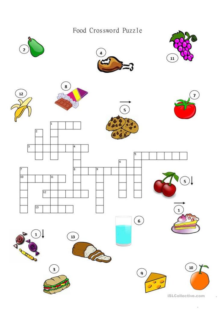 Food Crossword Puzzle Worksheet Free ESL Printable