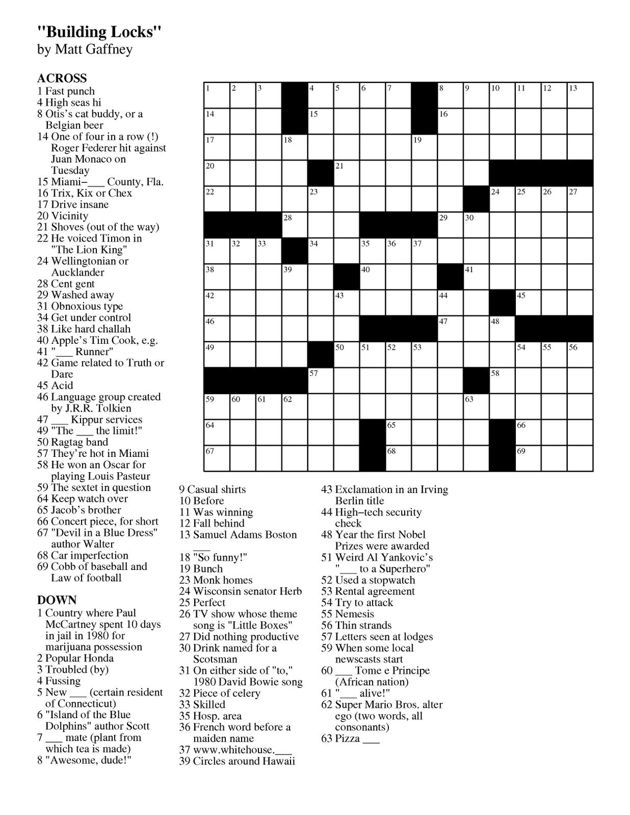 Easy Online Printable Crossword Puzzles