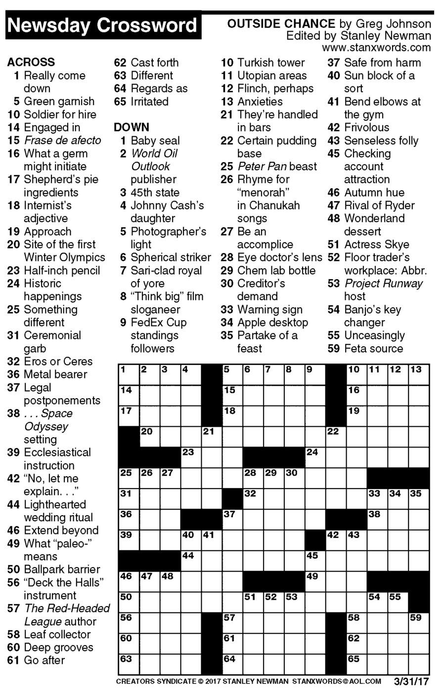 Free Daily Crossword Printable