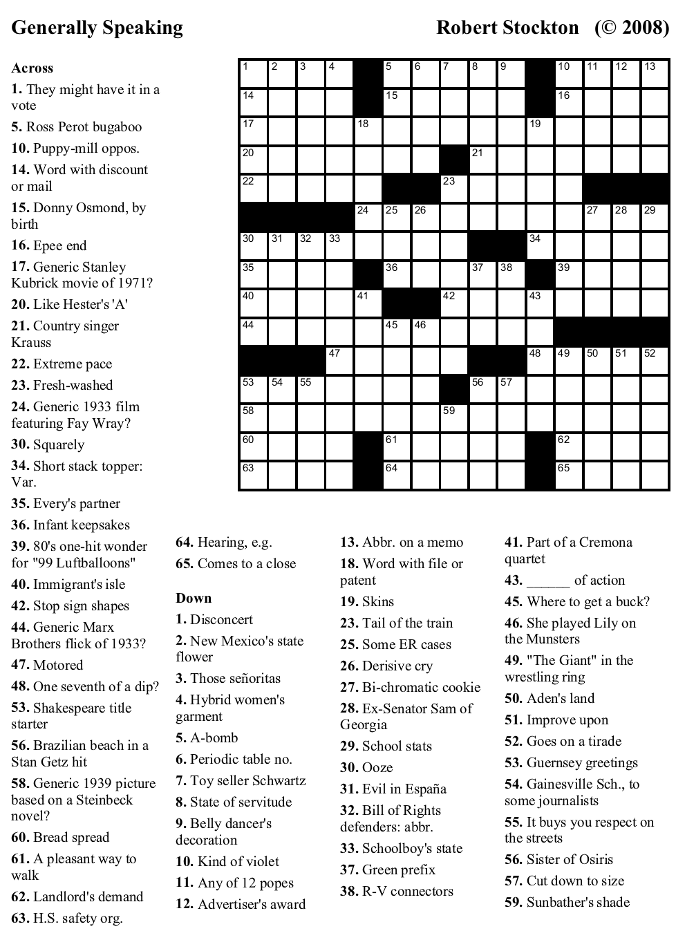 Crossword Print Out