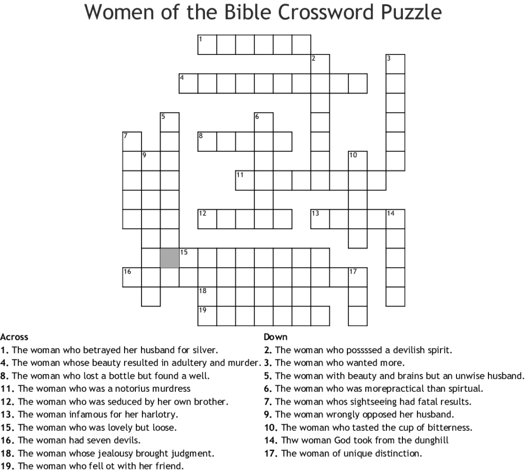 Free Printable Bible Crossword Puzzles With Answers