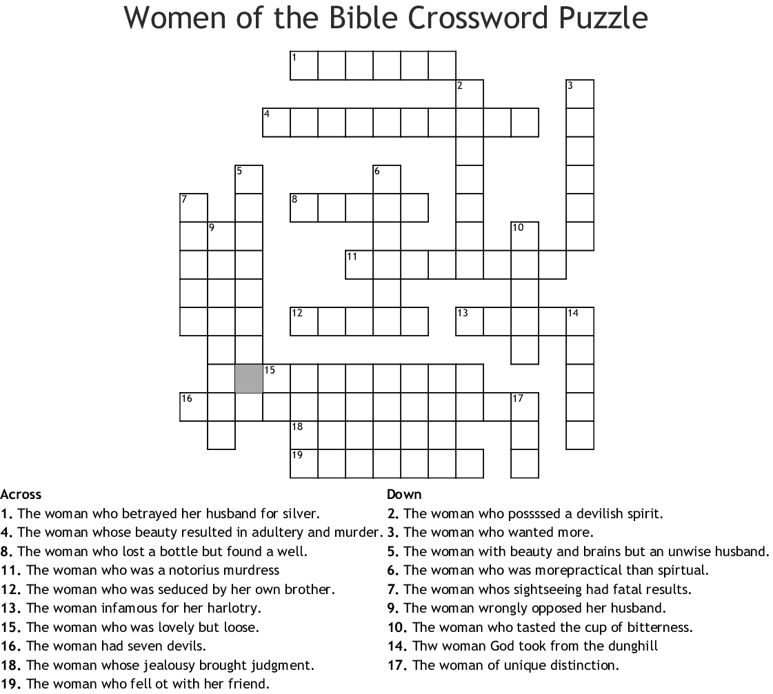 Bible Crossword Puzzles Printable With Answers