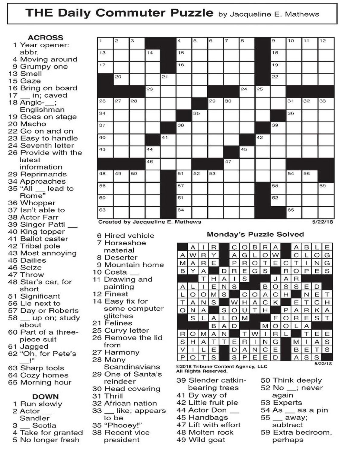 Commuter Crossword Puzzle Printable