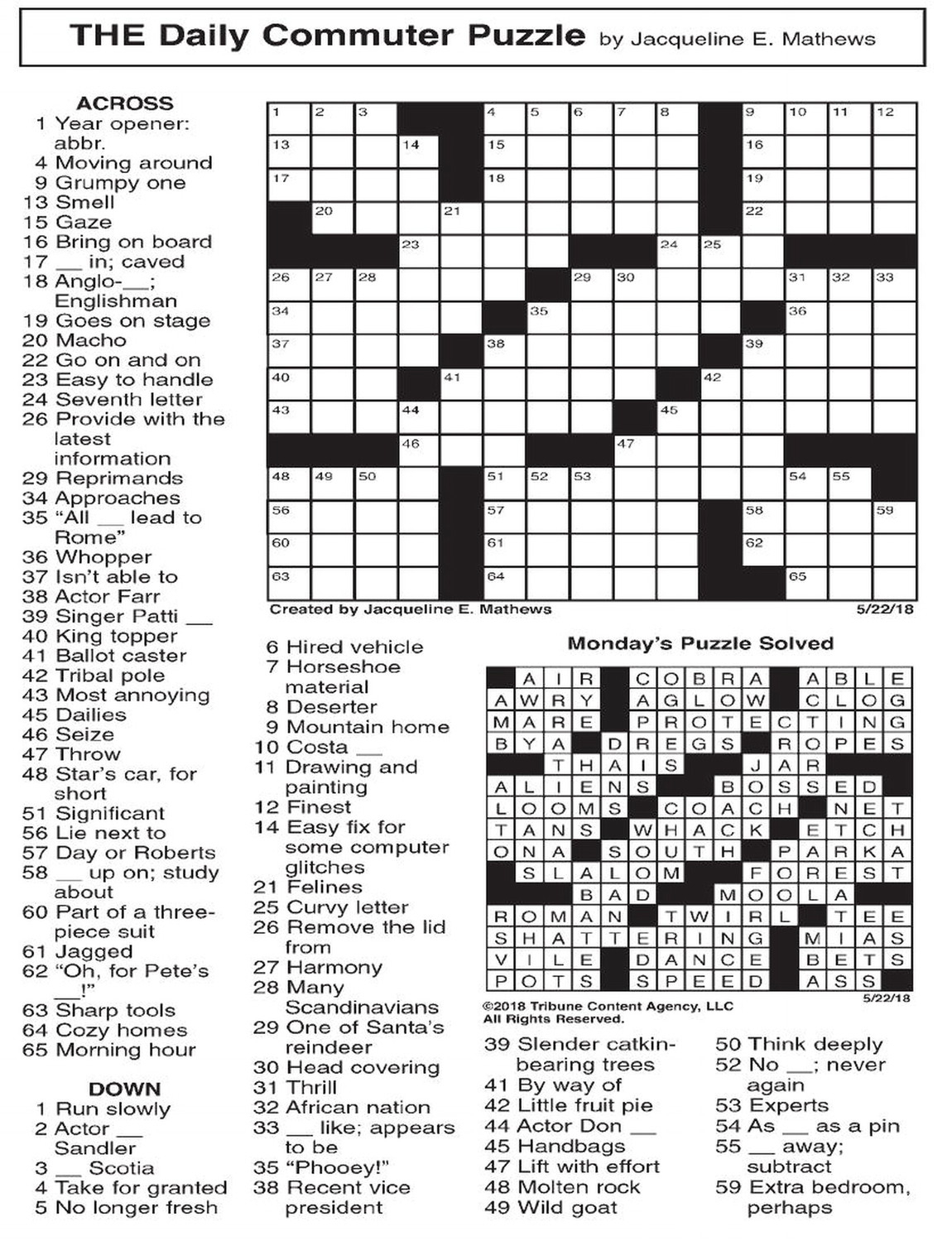 Daily Commuter Crossword Puzzle By Jacqueline Mathews Printable