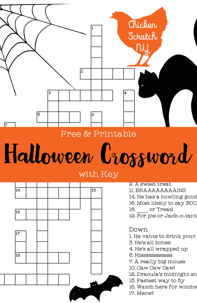 Puzzles To Print Halloween Crossword Answers