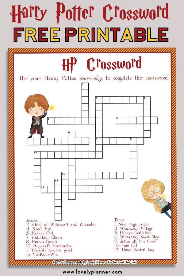 Harry Potter Crossword Printable
