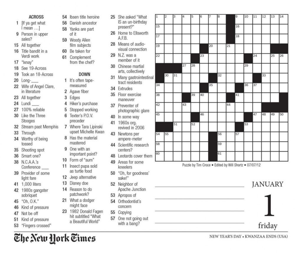 Free Printable Large Print Crossword Puzzles Free Printable