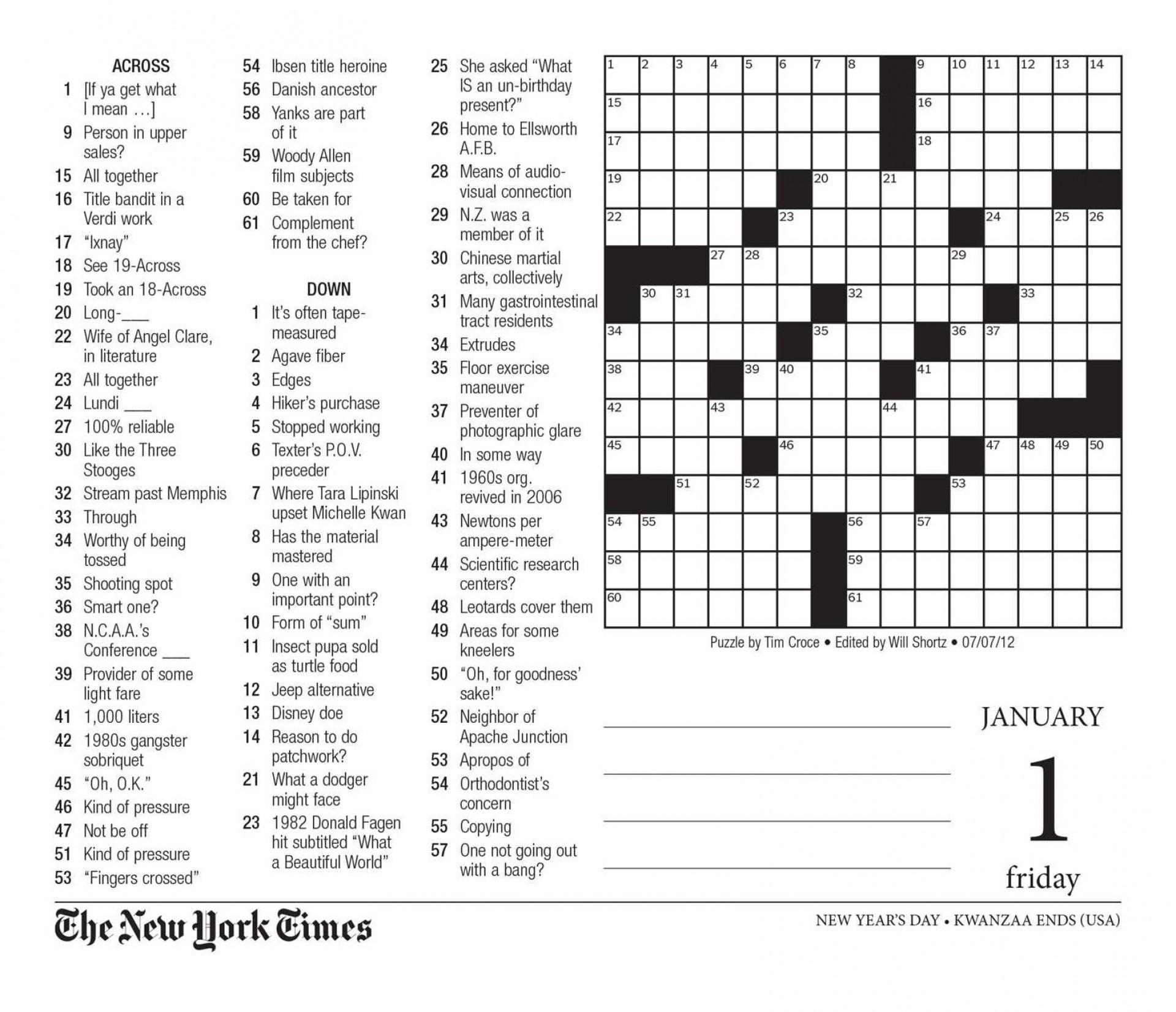 Large Print Crossword Puzzles For Seniors Printable