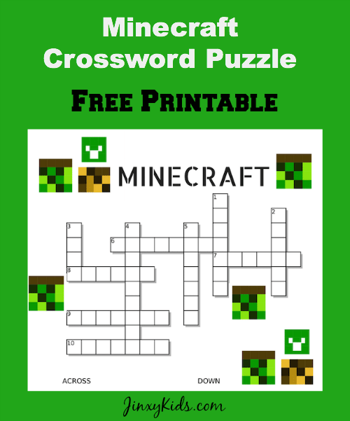 Minecraft Crossword Puzzle Printable