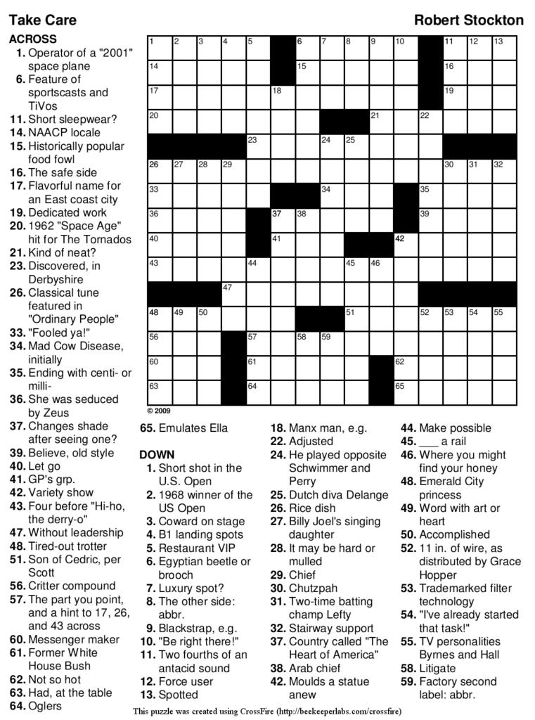Free Printable Sports Crossword Puzzles Free Printable