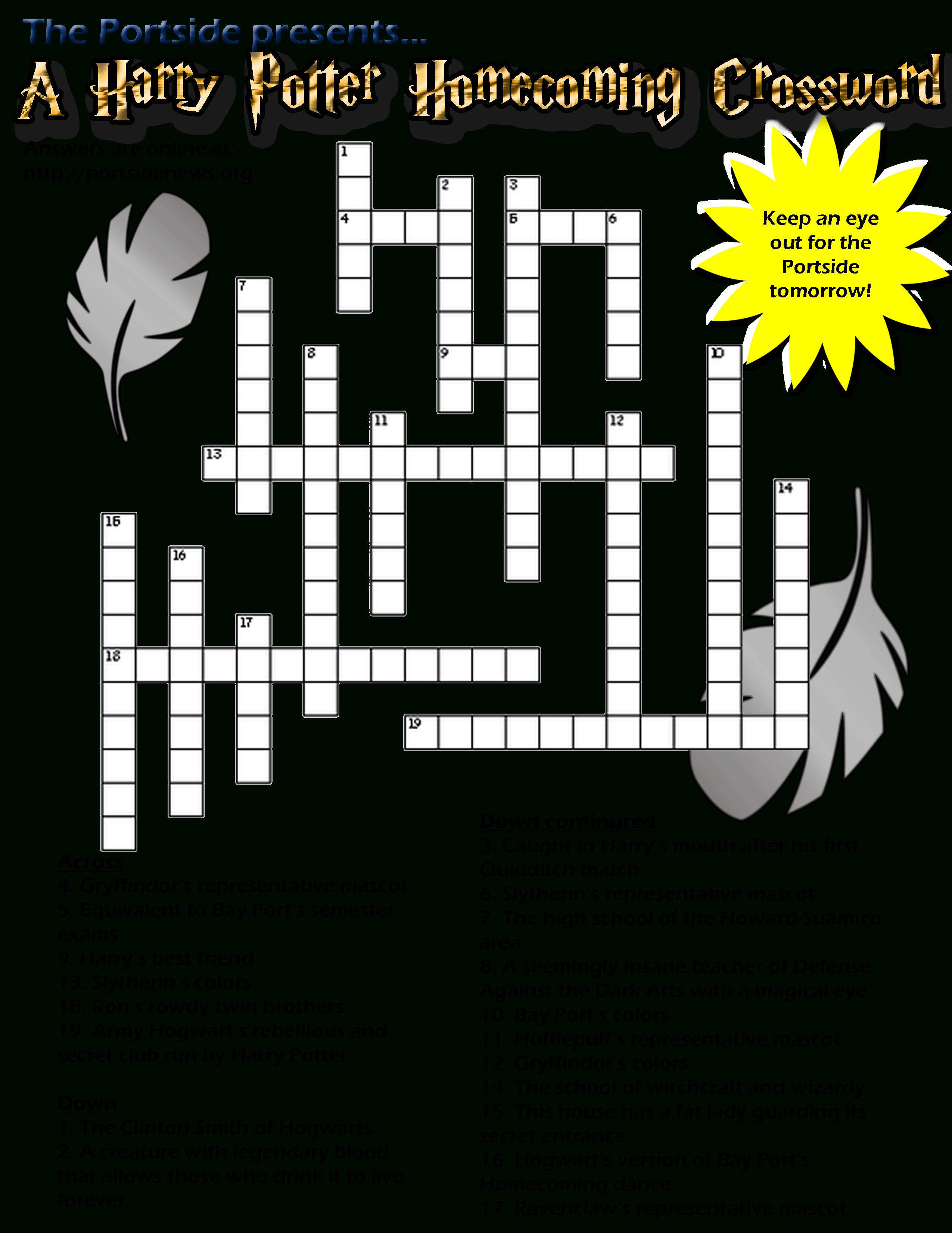 Printable Crossword Puzzles Harry Potter
