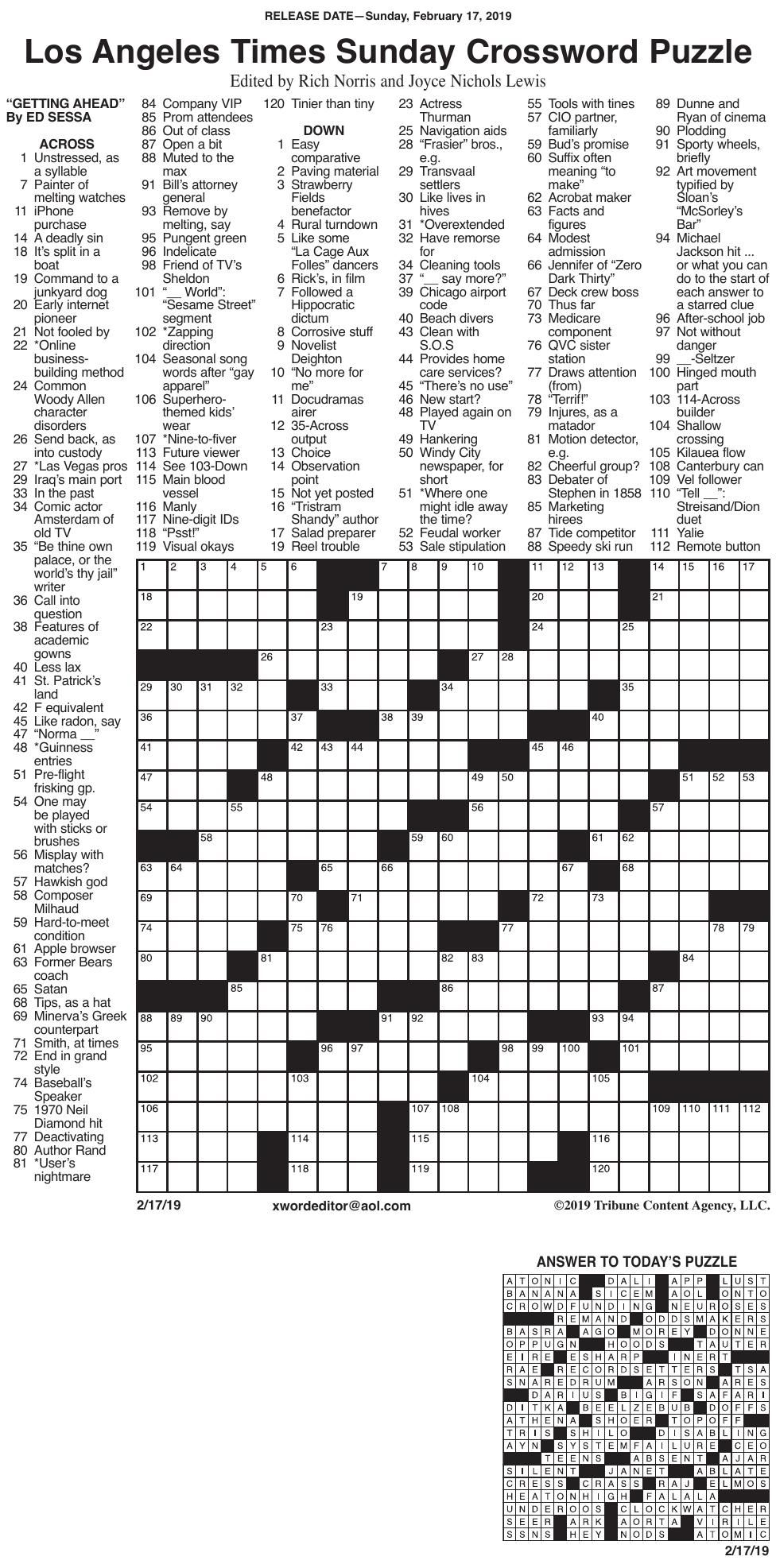 La Times Crossword Puzzles Printable