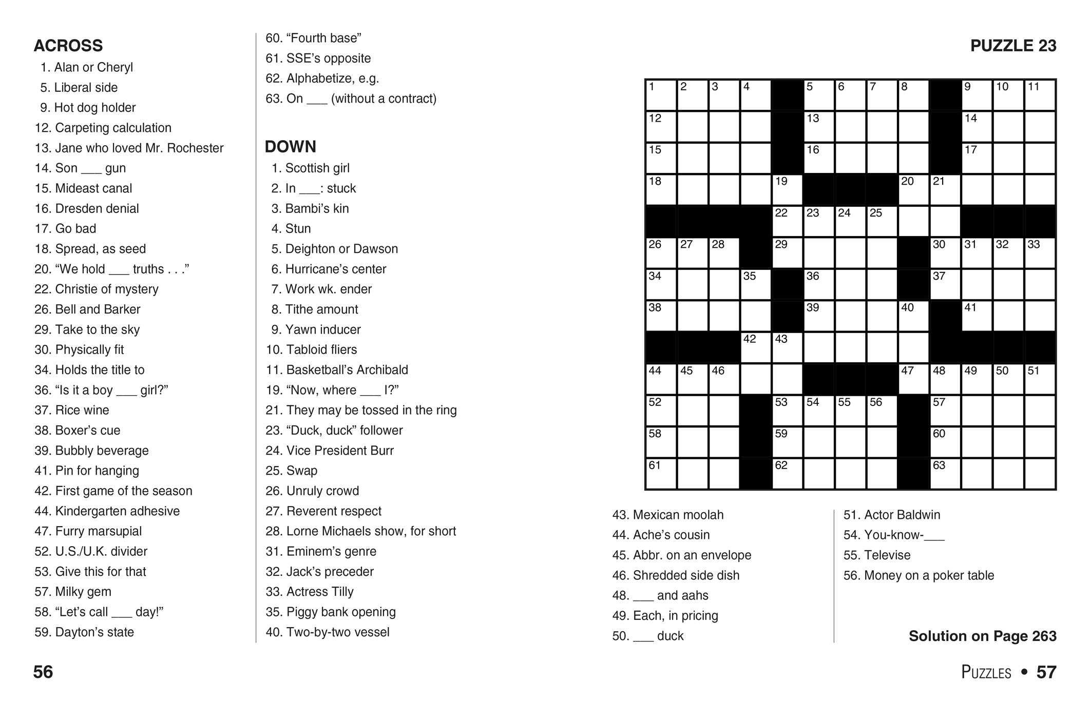 Easy Large Print Crossword Puzzles