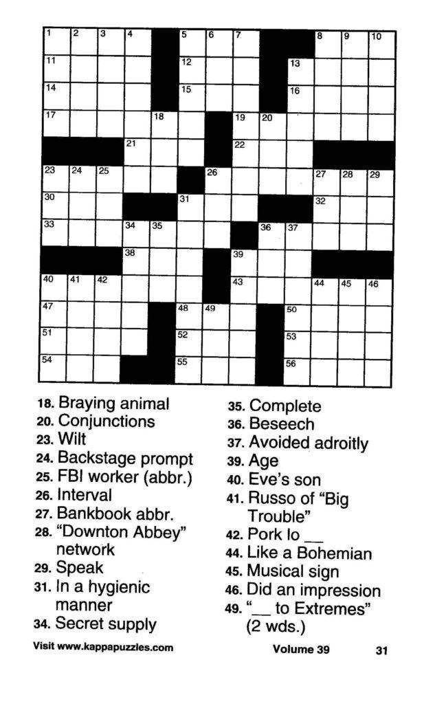 Large Print Crosswords Special Puzzle Book Volume 38