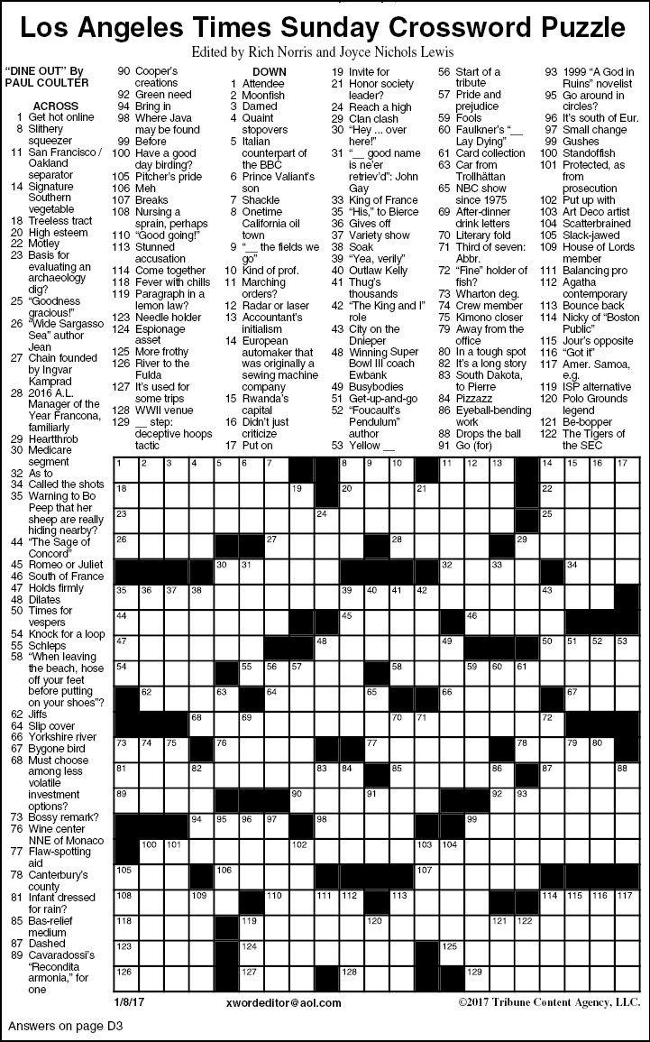 La Times Sunday Crossword Printable 2021