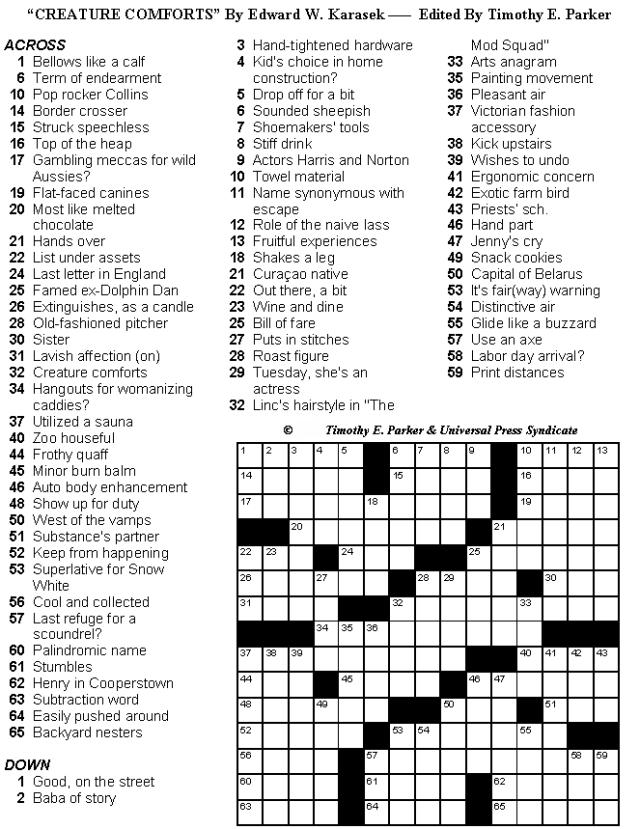 Medium Level Crossword Puzzles Printable