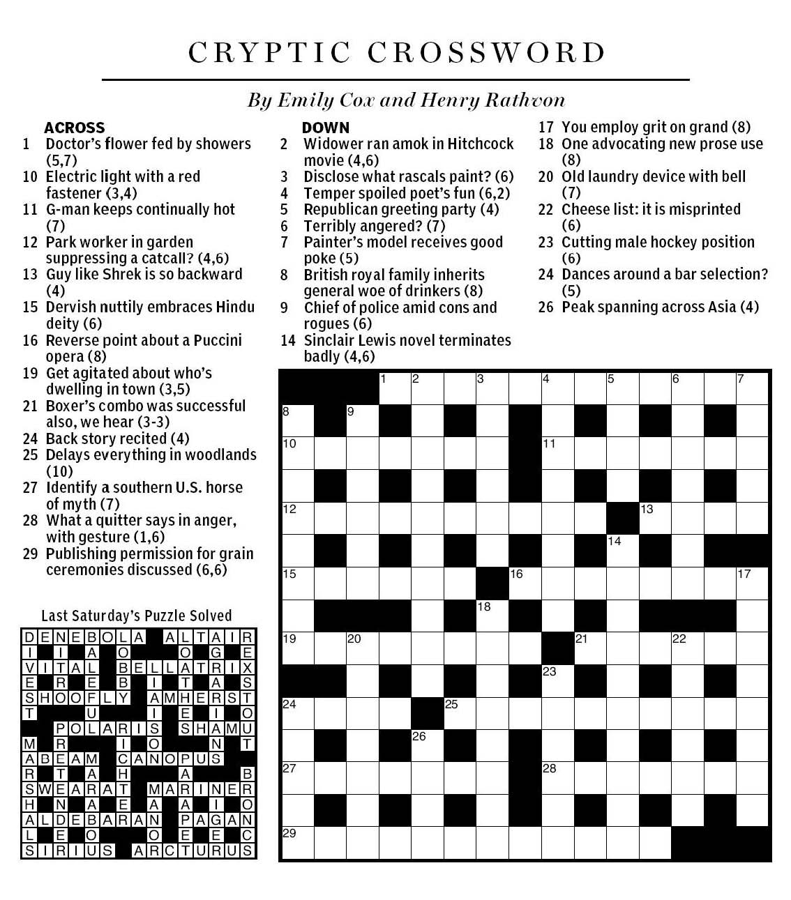 Daily Mail Cryptic Crossword Printable