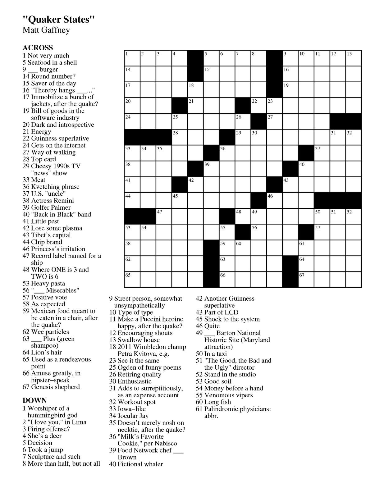 Free Printable La Times Crossword