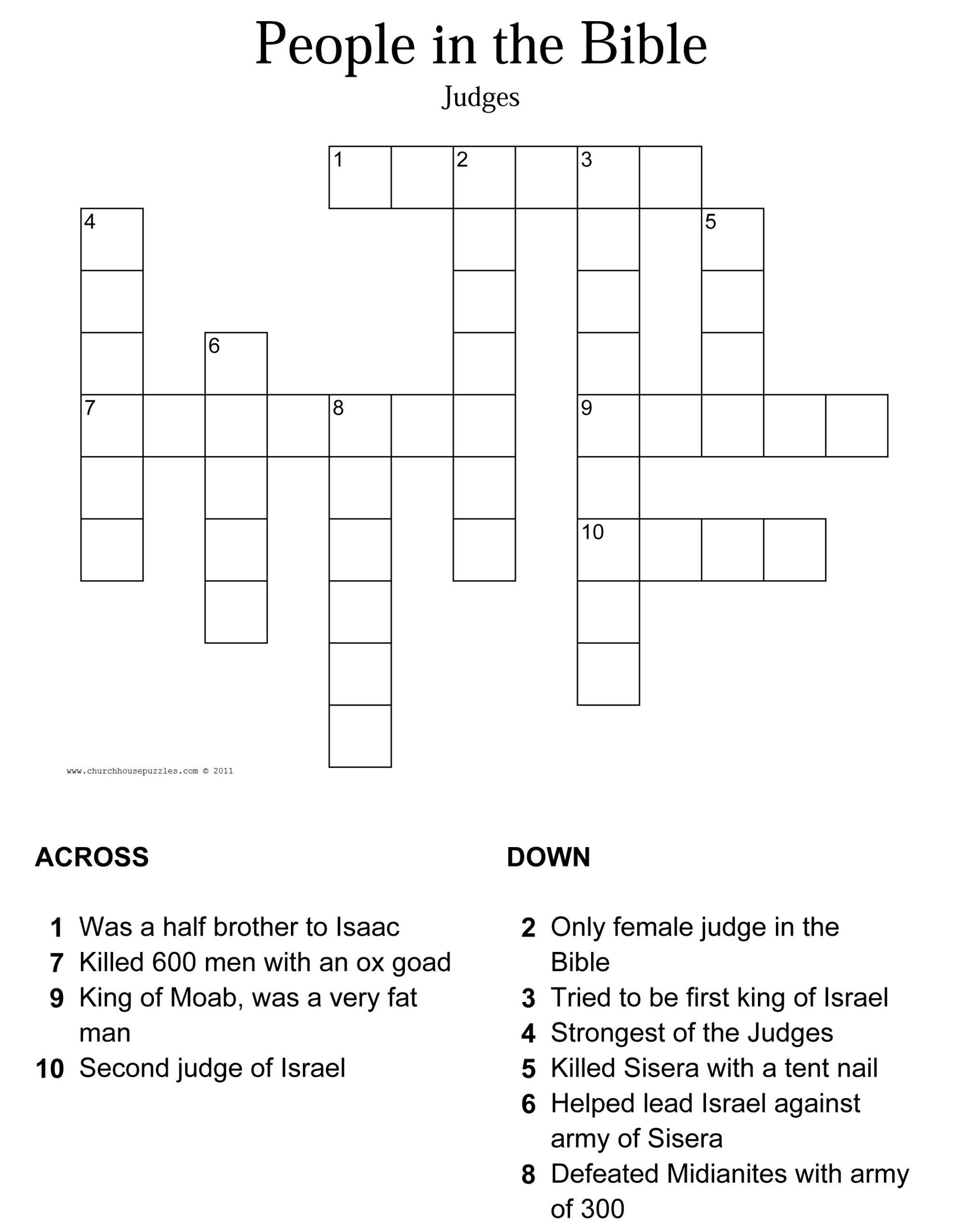 Bible Crossword Printable