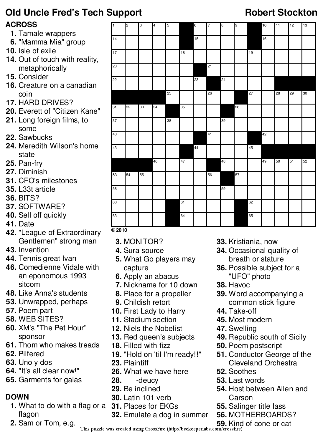 Crossword Puzzle For 10 Year Old
